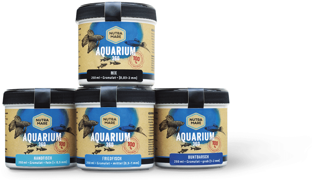 Nutramare Aquarium360 - verschiedene Granulatgrößen